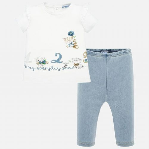 White Ruffle T-Shirts & Leggings Set